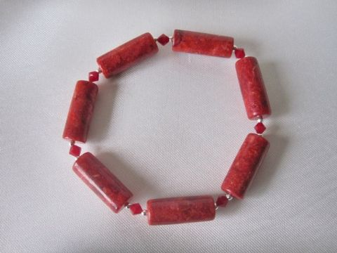 Red Tube Beads, Swarovski Crystals & Sterling Silver Bead Bracelet